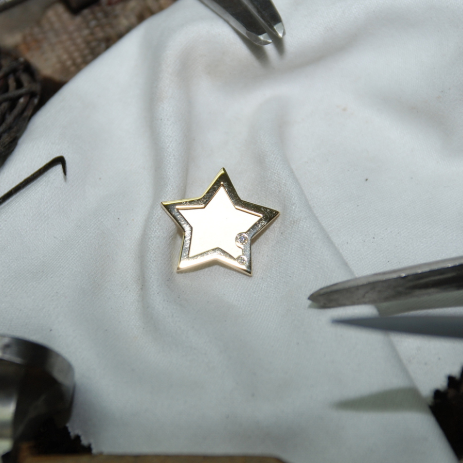 Granatring mit Diamant - Goldschmiedekurs Chiemsee Goldschmiede